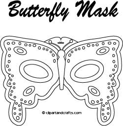 Printable Butterfly Mask Coloring Page or Template