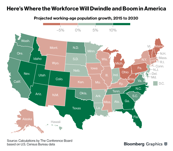 Workforce Change Map From 2015 To 2030