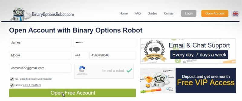 binary option robot setup