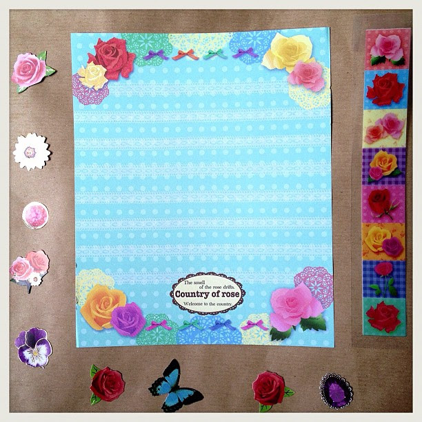 I received this set for my birthday along with stickers and tape #letterset #letter #roses #lace #bow #amazing #stickers