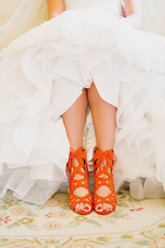 bold orange laser-cut-Hochzeits-Schuhe mit Schnürung bis