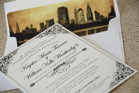 Vintage Filigree Wedding Invitation (New York City)