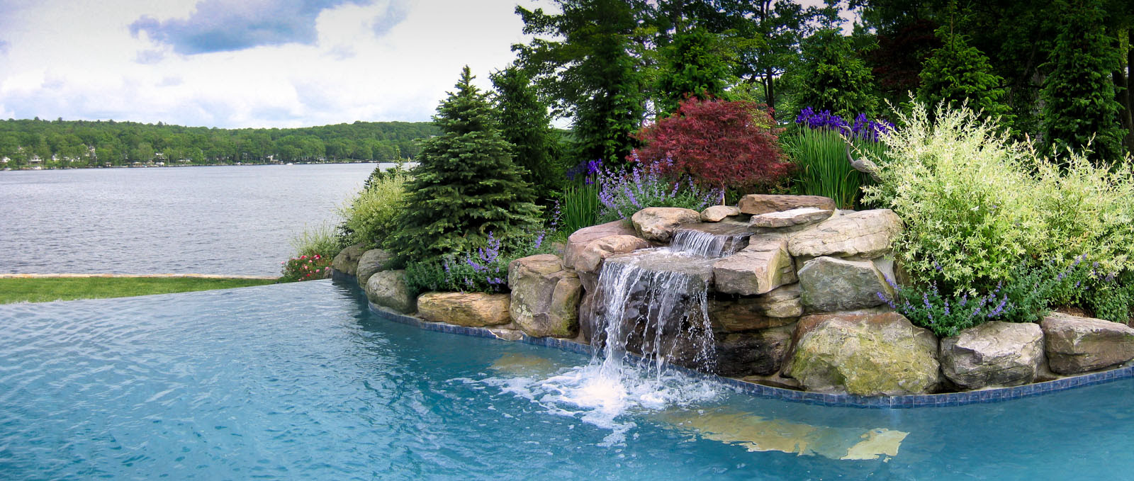Before Photo Of Pool Waterfall Prior To Landscaping Greenwood Lake
