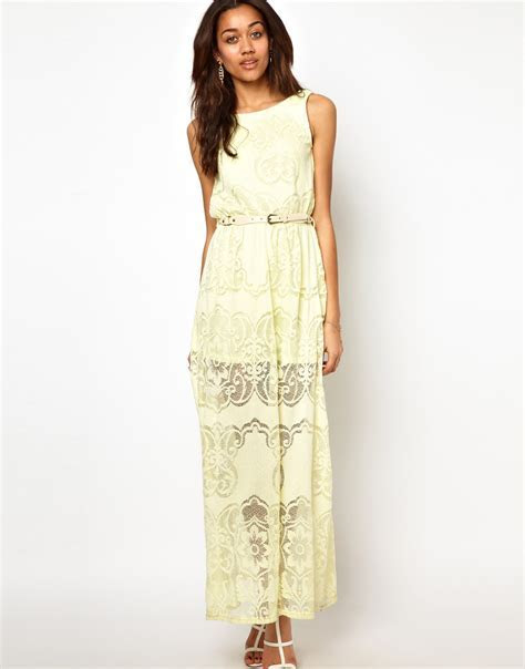 River Island Lace Maxi Dress in Yellow (lime)   Lyst