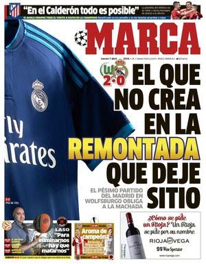 Capa do jornal Marca derrota Real Madrid (Foto: Reprodução)