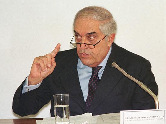 O então juiz Nicolau dos Santos Neto, ex-presidente do TRT-SP, durante depoimento no Senado, em 1999