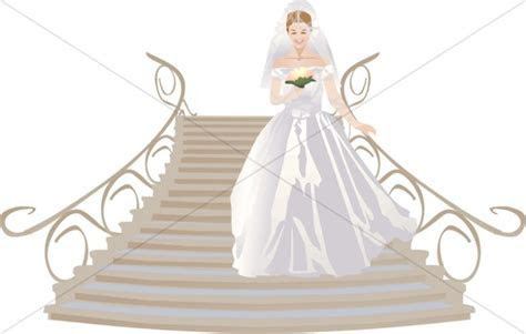 Bride Approaches from Grand Staircase