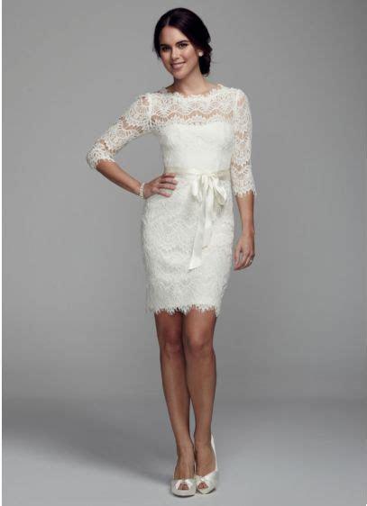 Short Lace Dress with 3/4 Sleeves   David's Bridal