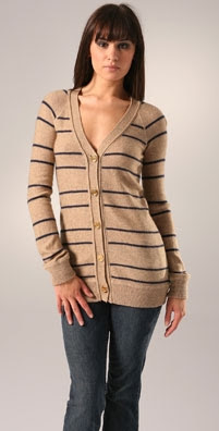 Juicy Couture Reverse Jersey Stripe Cardigan