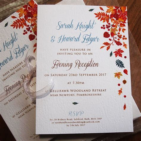 Autumn Wedding Invitations   Falling Leaves design   Paper