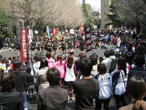 Male cheerleaders of Waseda U performing