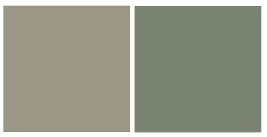 RL's 'Cathedral Gray' is an incredibly soothing green gray, and Sherwin Williams 'Dried Thyme'