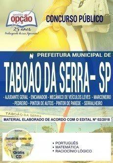 Apostila Concurso Prefeitura de Taboão da Serra 2018 | DIVERSOS CARGOS DE NÍVEL FUNDAMENTAL