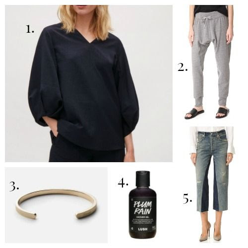 COS Blouse - Oak Sweatpants - Minsai Bracelet - Lush Shower Gel - Citizens of Humanity Jeans