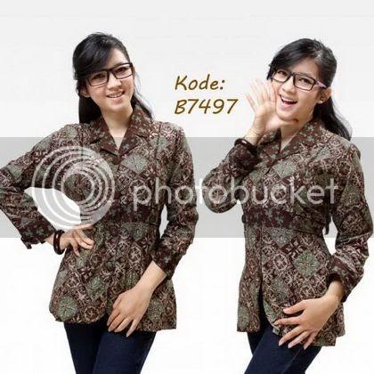 `Desain Baju Batik Kerja Modern 2016