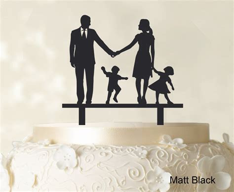 Wedding Cake Topper Family Silhouette Bride And Groom With