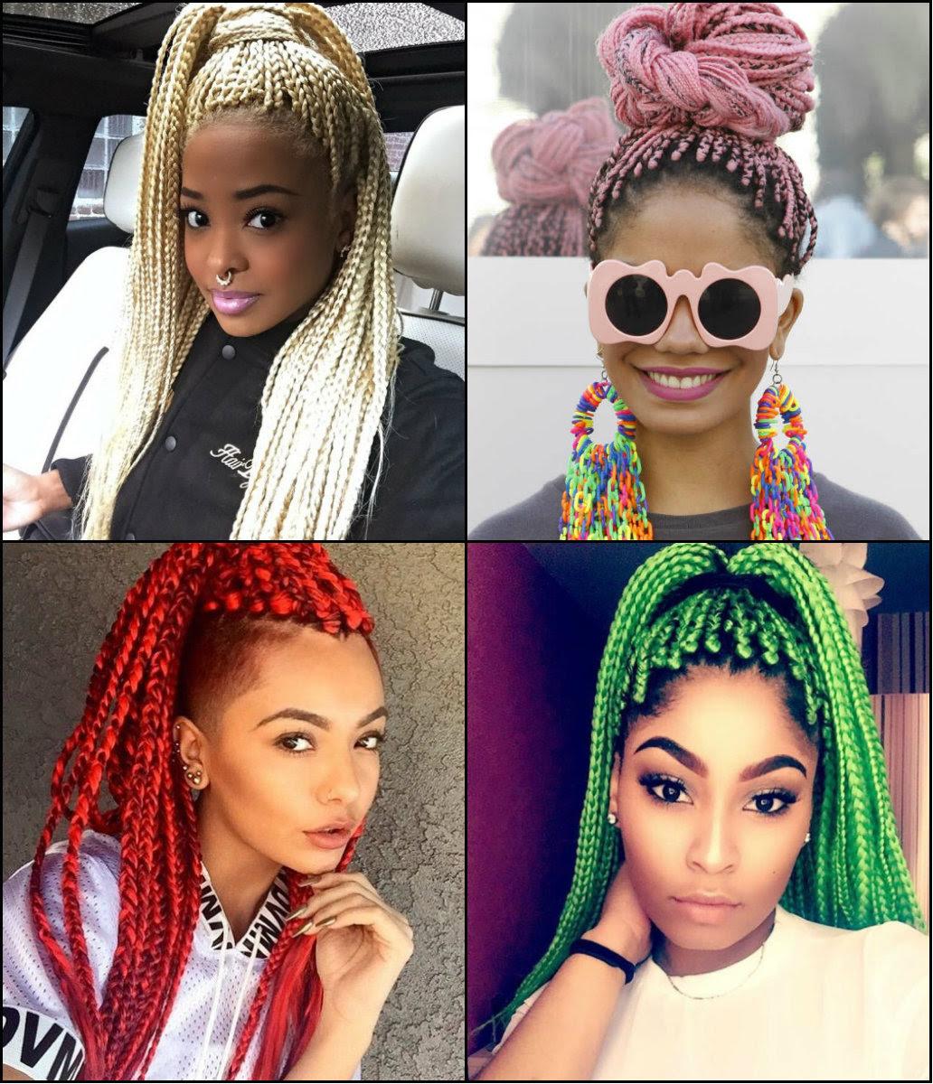 Black Women Colourful Box Braids Hairstyles 2017 Long Hairstyles