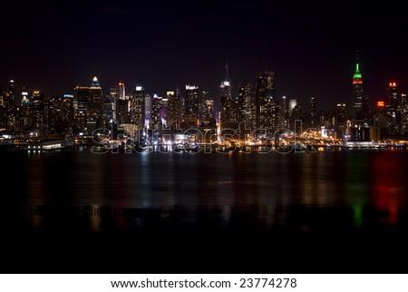 new york city skyline at night wallpaper. new york city skyline