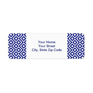 Blue and White Meander return address label