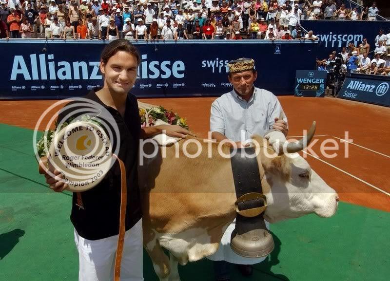 Image result for roger federer with cow