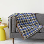 Navy Blue and Black Tartan Plaid Throw Blanket