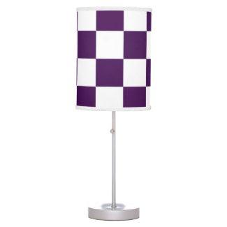 Checkered Purple and White Desk Lamps