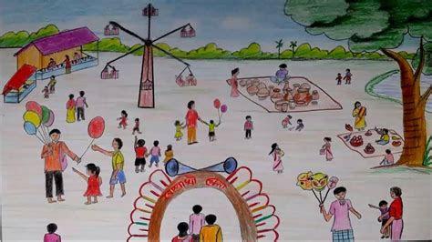 draw scenery  pohela boishakh village fair scene