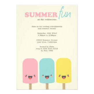 Kawaii Ice Lolly Trio Summer Party Invitations Custom Invitation