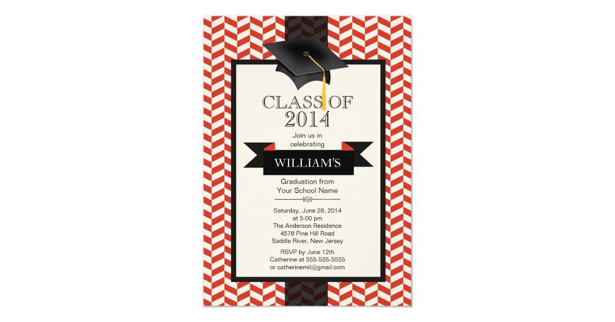 Formal Modern Chevron Graduation Party Invitation  Zazzle