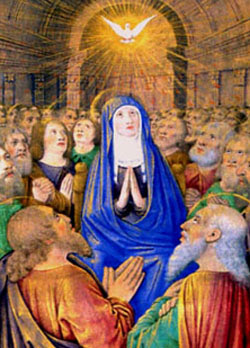 The Dove of the Holy Ghost descending on Our Lady and the Apostles at Pentecost