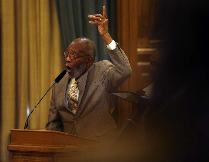 NAACP's Amos Brown angrily addresses the income disparity between African-American San Franciscans and the city's other races while accepting a Recognition of Commendation award at Board of Supervisors' meeting at City Hall in San Francisco, Calif., on Tuesday, September 29, 2015.