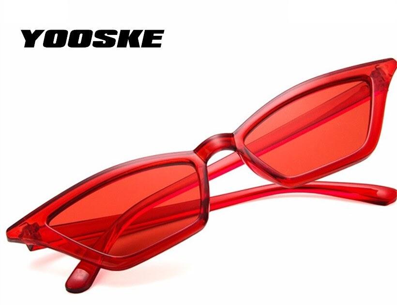 c06a5cf34fe9a Comprar YOOSKE Do Vintage Óculos De Sol Das Mulheres Gato Olho Retro Marca  Designer Pequenos óculos Senhoras Preto Vermelho UV400 Baratas Online Preço  ...