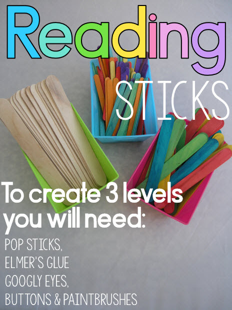Reading sticks for guided reading. Use three levels to promote reading fluency with emergent and beginning readers.