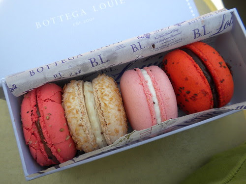 No, they don't see these at the Stadium... Bottega Louie macarons - Dodger Game vs SF Giants, April 18, 2010