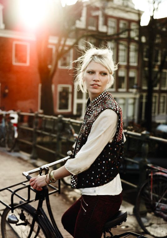 Gilet. Bike. Amsterdam. Cream White shirt.