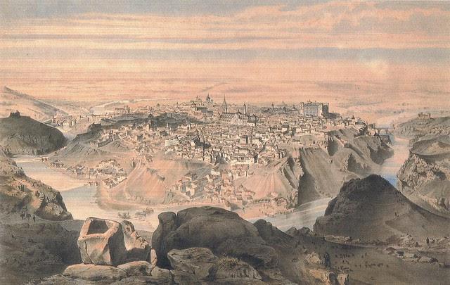 Litografía de Alfred Guesdon titulada Tolède, vue prise au-dessus du Sarcophage du Roi Maure. Hacia 1850