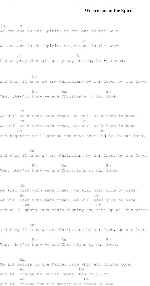 We Are One In The Spirit Lyrics