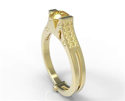 Yellow Sapphire Handcuff Ring   Custom Engagement Rings