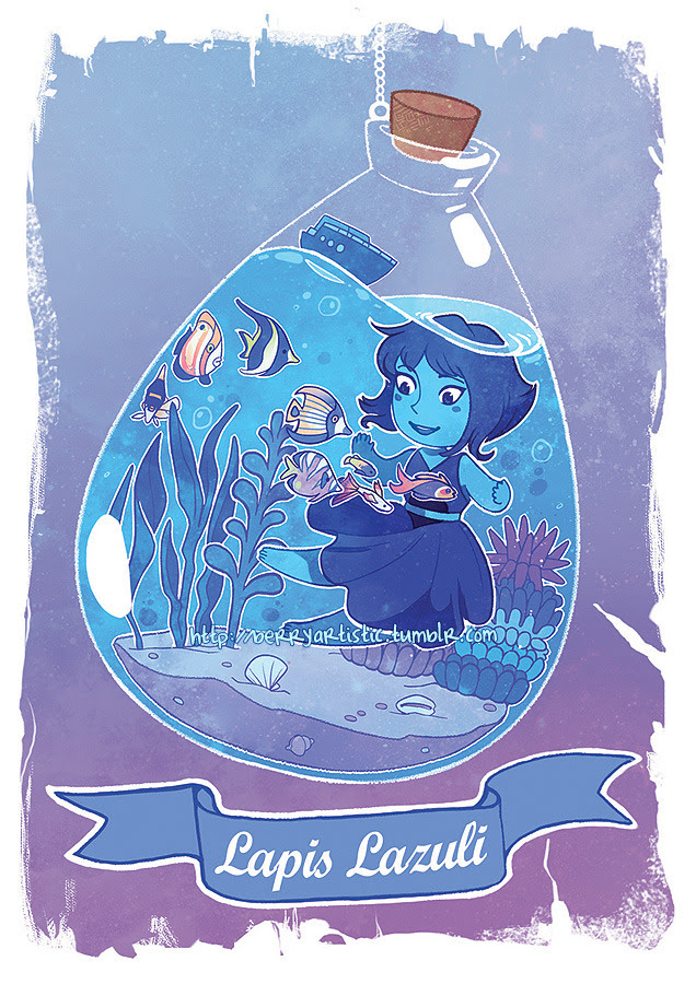 another one in the steven universe terrarium series I'm collaborating on with my girlfriend! this time it's Lapis! she matches that one of Pearl from earlier, and both are still available in my store...