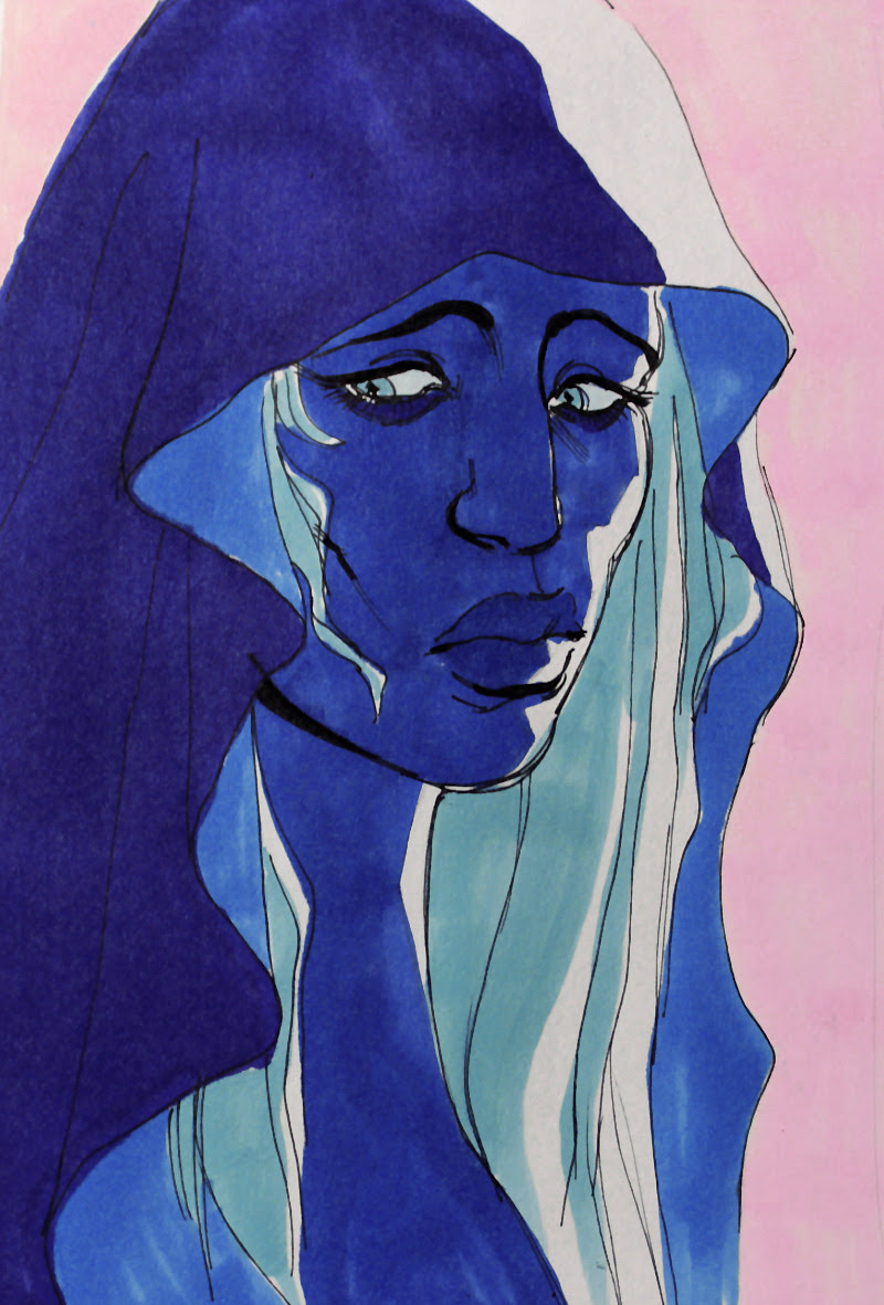 doodled blue diamond in-between doing commissions and character sheets :O im torn between her design in 'the answer' and the one in the recent steven bomb my markers are running out of ink :x