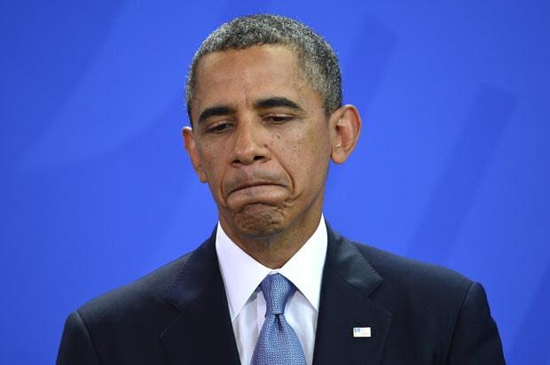 O presidente dos EUA, Barack Obama, durante entrevista nesta quarta-feira (19) em Berlim (Foto: AFP)