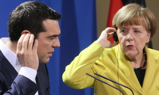 A word in your ear. The German chancellor, Angela Merkel, with the Greek prime minister, Alexis Tsipras, in Berlin earlier this year.