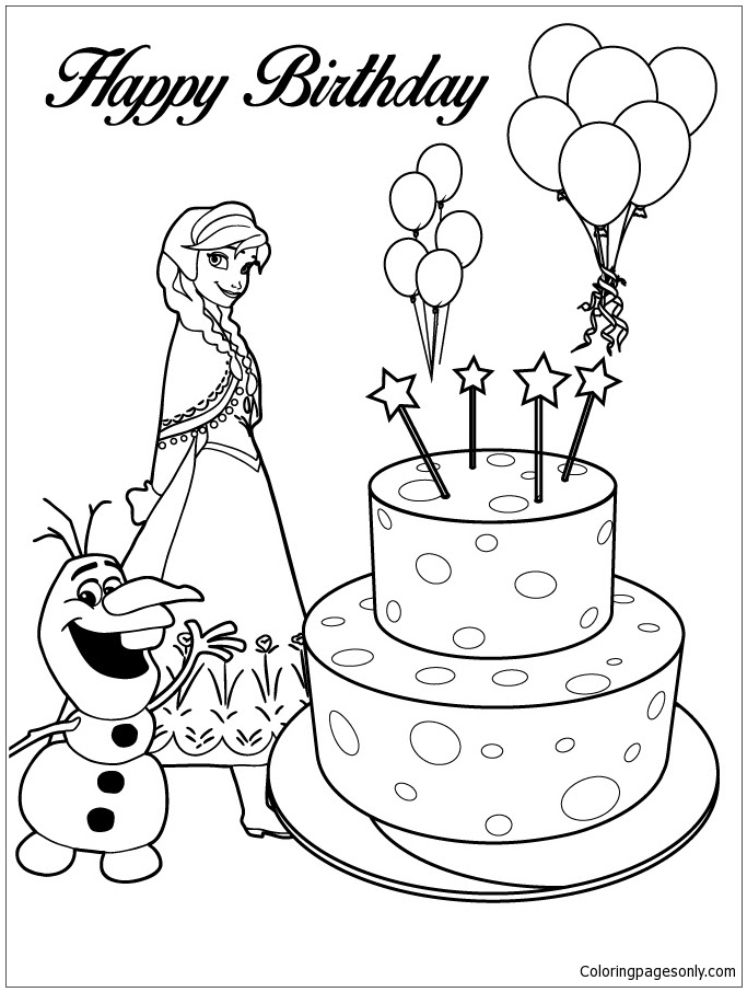 Anna, Olaf And Happy Birthday Cake Coloring Page - Free ...