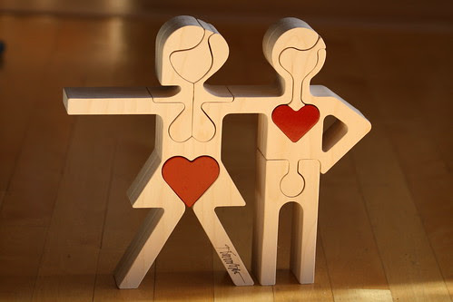 Man and Woman Wooden Puzzle Sculpture