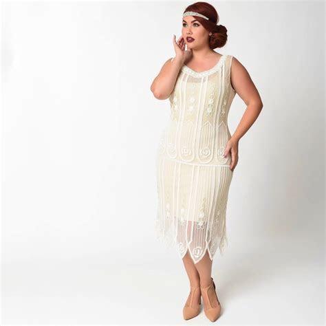 Ivory 1920s Flapper Dress   Deco Shop