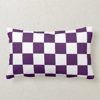 Checkered Purple and White Pillow