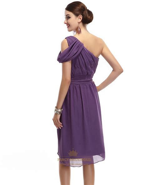 Purple One Shoulder Chiffon Knee Length Ruched Bridesmaid