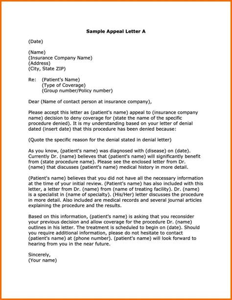sample insurance appeal letter   authorization