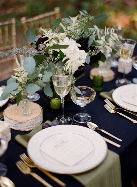 sophisticated winter wedding reception table setting