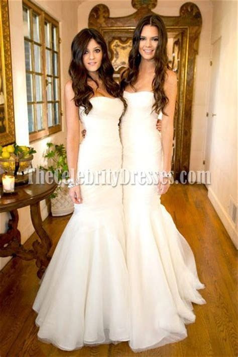 Celebrity Kim Kardashian Wedding White Mermaid Bridesmaid
